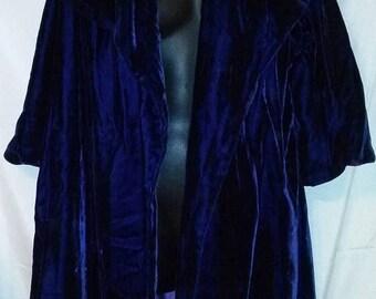 MEMORIAL DAY SALE 50s Vintage Royal Blue Velvet-Opera Evening Swing Coat-Medium-Waldorf-Hollywood Regency-Mad Men-Jackie o-Distressed-As Is