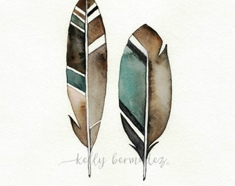 Feather Painting, Feather Wall art, Earthy Feather, Watercolor Feather, Feather Art, Watercolor Printable, Instant download