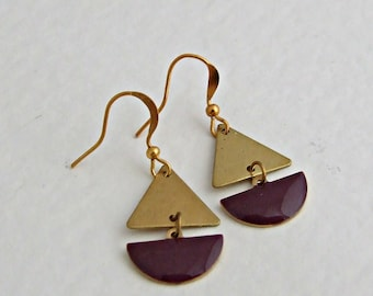 Purple and Gold Earrings .. triangle, plum, geometric