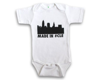 CLEVELAND Baby One Piece Bodysuit. Made in CLE. Infant One Piece. Cleveland Baby. Baby Outfit. Baby Gift. Baby Shower Gift.