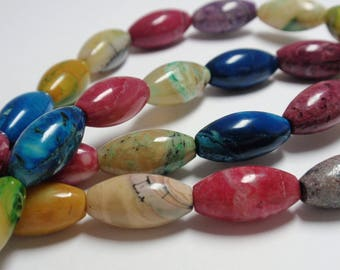 """African Opal Dyed Oval Rice Beads, 8x16mm African Opal Gemstone Beads, 11 1/2"""" Strand - 18 Beads"""