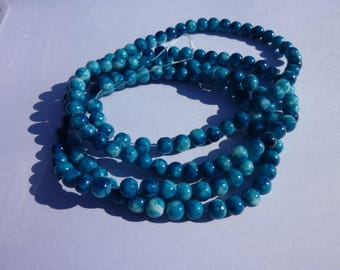 6mm teal blue spray painted mottled round glass beads - 30 beads