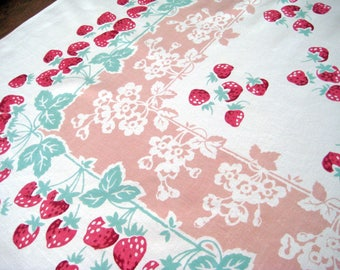 """Vintage Tablecloth, Strawberries, Reverse Print Floral Blossoms, Red, Jadite Green, Dusty Pink, Heavy Cotton, Large 63.5"""" x 52"""""""