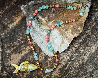 Stunning Jade and Coral Necklace