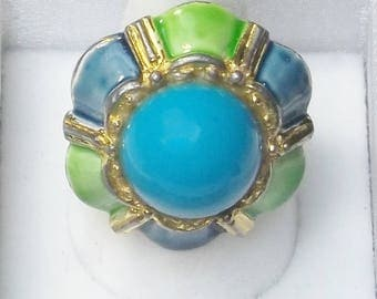 Vintage 1950's Blue Green Enamel Domed Adjustable Ring Costume Jewelry Mid Century Gift For Her on Etsy