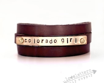 leather bracelet, leather cuff bracelet, colorado girl, stamped gold, brown leather cuff bracelet, colorado gift, gift for her, leather band
