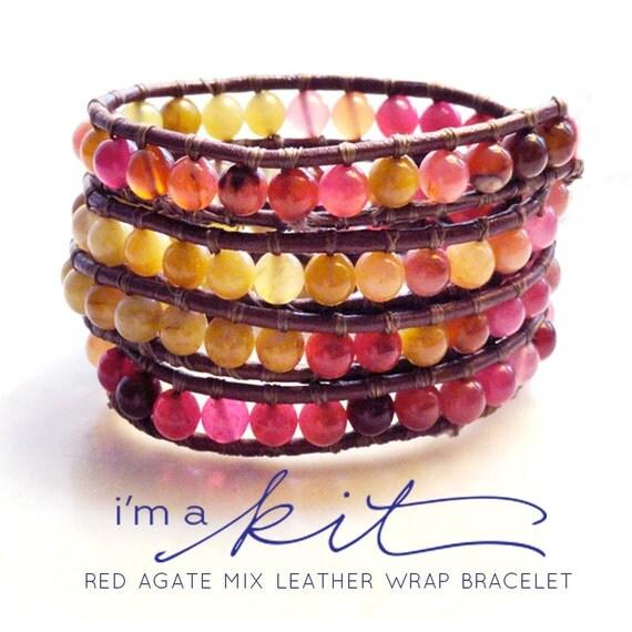 wrap bracelet kit: agate gemstones reds pink citron yellow leather bracelet