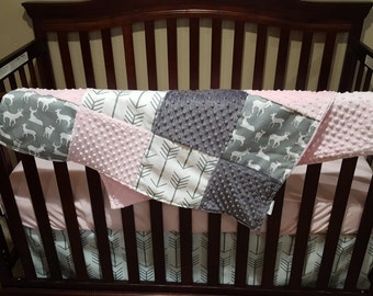 Baby Girl Crib Bedding - White Gray Arrows, Gray Deer, Blush, and Gray Crib Bedding Ensemble with Blanket or Patchwork Blanket