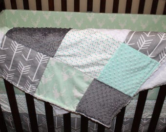 Deer Baby Blanket - Mint Buck, Mint Gray Triangles, Gray Arrow, White Crushed Minky, and Mint Minky Patchwork Baby Blanket