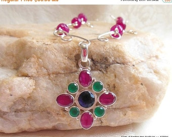Holiday Sale Sapphire necklace, ruby necklace, emerald necklace, elegant blue sapphire, rose ruby and emerald