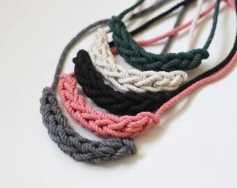 collier de corde de coton tressé, choisissez votre couleur,