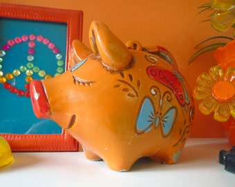 Vintage 1960s Retro Groovy Orange Pig Coin Piggy Bank Plaster Butterfly Bows