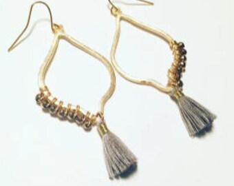 Half Beaded Tassel Earrings