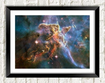 HUBBLE GALAXY PHOTO: Mystic Mountain Space Poster Art Print