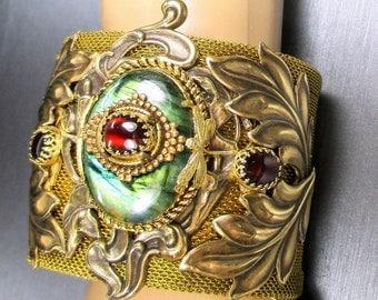 Art Nouveau Cuff Bracelet, Labradorite Cuff Bracelet, Art Nouveau Bracelet,Labradorite, Garnet, Art Nouveau Stampings, Dragonflies,Mesh Cuff