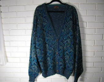 80's blue and turquoise cardigan size 2 XL TALL