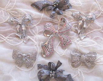 1990's SEVEN Rhinestone Bow Pins Never Worn Old Stock Vintage Costume Jewelry Lot Figural Destash Brooch Brooches Little Black Dress