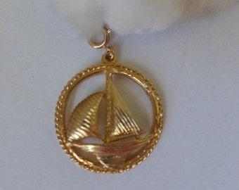 Vintage Sailboat Pendant Fashion Jewelry  70s Roget Gold tone