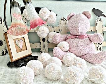 Sprinkle Pom Pom Yarn Garland -Birthday Pom Pom Garland- Pastel Baby Bridal Shower Garland - Birthday Wedding Sprinkle Pom Pom Decoration