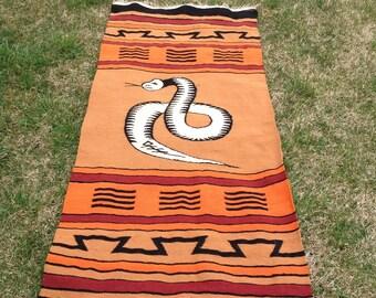 Vintage Wool Rug / Tapestry / Wall Hanging / Aztec / Native American