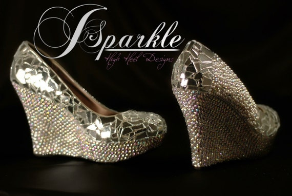 Mirror Glass Wedding Wedge High Heel Pump with Swarovski Crystals AB and White Pearls