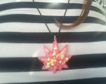 Holo Pink Leaf Necklace