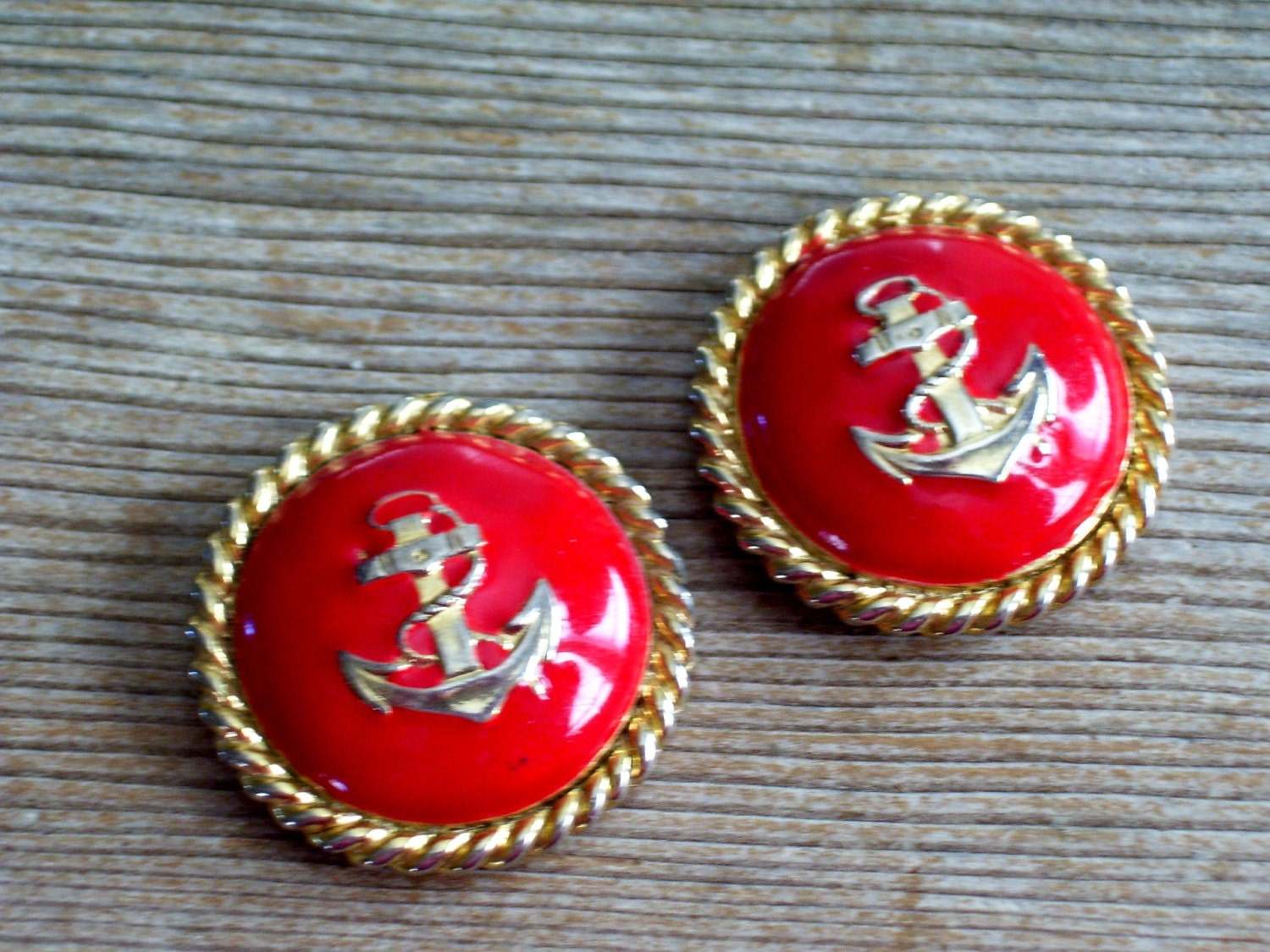 Vintage Anchor Earrings Red and Gold Earrings Nautical Jewelry