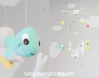 Under the Sea Baby Mobile, Sea Animal Mobile, Ocean Theme Nursery Decor, Aquatic Decor, Baby Fish, Sea Turtle, Whale, Seahorse