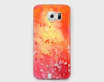 Red and Yellow Samsung Phone Case - Red Orange & Yellow Abstract Samsung Phone Case - Galaxy S4/S5/S6/S7 Edge Ace