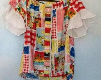 Off the shoulder top, Hawaiian Jam's World up cycled shirt, Patchwork top, cold shoulder blouse, peasant blouse, medium large ladies top