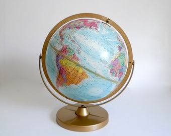 """Vintage 12"""" Replogle Globe World Nation Series USSR and Mountain Ranges - Gold Metal Stand with Dual Axis"""