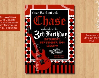 rock star invitation rockstar invite boy rocker guitar teen boy invitation teenager invite boy Music birthday party rock n roll invite Red