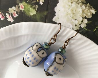 Blue owl earrings - ceramic owl beads with crystals, natural brass