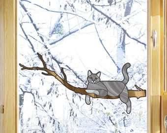 "CLR:WND - Charming Grey Cat on Branch - Stained Glass Style - See-Through Vinyl Window Decal- Copyright 2015 © YYDC (8.5""w x 4""h)"