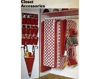Closet Organizers, Pattern, Butterick 3464, UNCUT, Vintage Sewing Pattern, Garment bag, Umbrella Rack, Shoe Bag, Handbag Organizer
