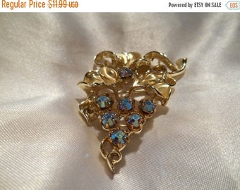 50% OFF SALE Aurora Borealis Rhinestone Bunch of Grapes Brooch