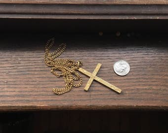 Large gold filled bronze engraved cross with chain.
