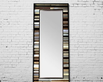 "Reclaimed Wood Mirror - 70x26 - Leaner Mirror - Floor Mirror - ""Tonal Reflection""- Modern Wood Wall Art- Reclaimed Wood Art"