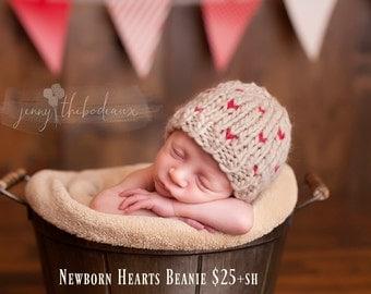 ready to ship newborn photography prop, newborn beanie hat 0-2 weeks, baby shower gift, valentine photo prop valentine hearts beanie