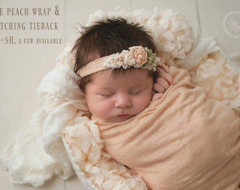 Ready To Ship, newborn photography prop, baby light peach stretch wrap and headband tieback set, prop layering, photography prop, newborn