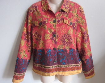 Boho jean jacket cotton chic  gypsy top Coldwater Creek L large