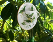 Lily of the Valley Vintage Bone China Tea Cup Stained Glass Wind Chime, Teacup Windchime, Glass Yard Art, Garden Decor, Unique Gift for Her