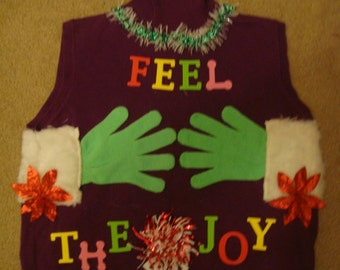 fast shipping deb woman's ugly christmas sweater purple feel the joy red gloves x large naughty winner party