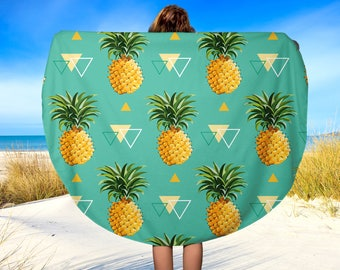 Round Beach Towel, Pineapple Beach Towel, Beach Blanket, Yoga Blanket, 60""