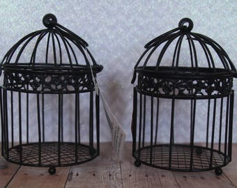 Two Metal  Black Birdcages