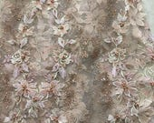 Luxury Detailed Pearl Beaded Lace Fabric in Dust Pink , 3D Wedding Embroidered Lace Fabric by Yard