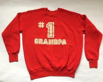 "Vintage '#1 Grandpa"" Red Sweatshirt"