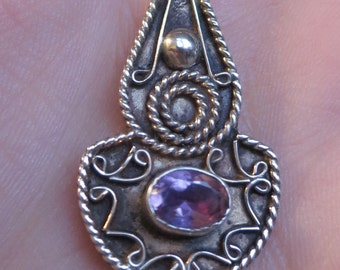 Vintage sterling silver amethyst pendant necklace Bali style 925 gemstone (7244)