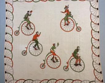 Vintage Silk Scarf Penny Farthing Bicycle Print