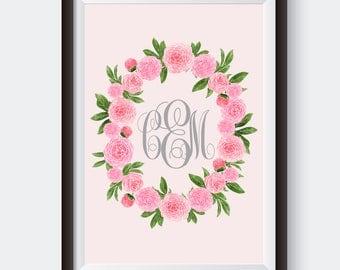 Pink Peony Wreath. Custom Monogram. Digital Print. Girl Nursery Art. Monogram Print. Floral Nursery Art. Boho Nursery Art. Pink Nursery Art